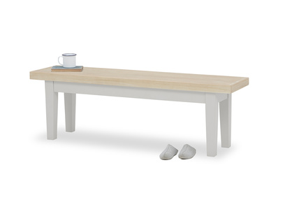 Plonk in pale grey oak bench front view with prop