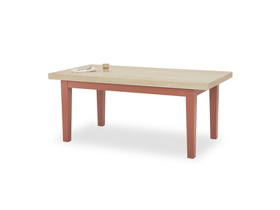 Pantry in earthy red extendable dining table front detail with prop