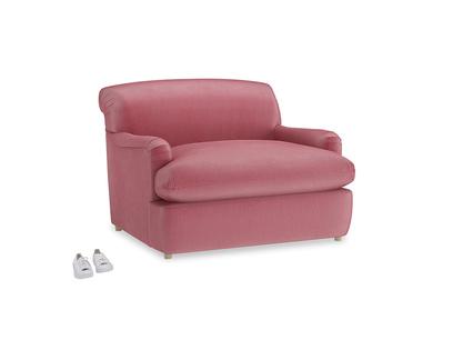 Pudding Love Seat Sofa Bed in Blushed pink vintage velvet
