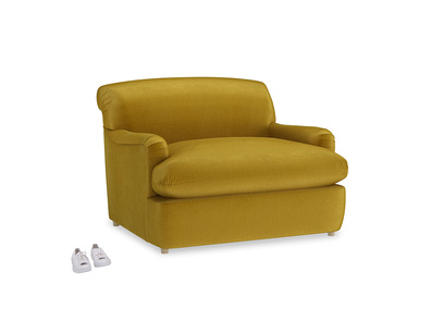 Pudding Love Seat Sofa Bed in Burnt yellow vintage velvet