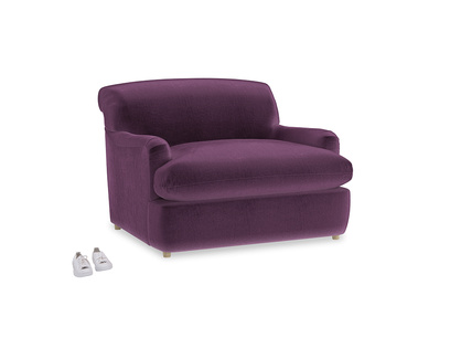 Pudding Love Seat Sofa Bed in Grape clever velvet