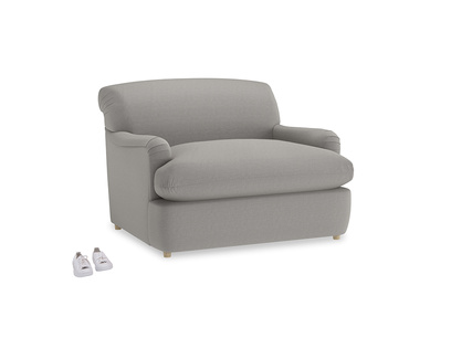 Pudding Love Seat Sofa Bed in Wolf brushed cotton