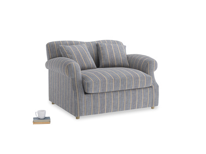 Crumpet Love Seat Sofa Bed in Brittany Blue french stripe