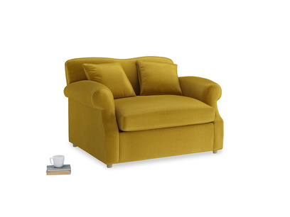 Crumpet Love Seat Sofa Bed in Burnt yellow vintage velvet