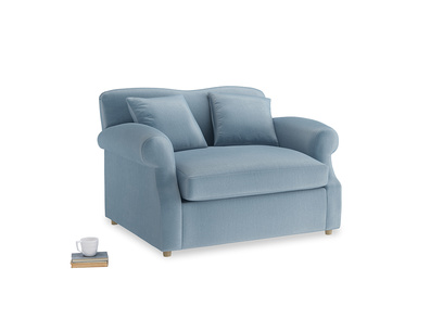 Crumpet Love Seat Sofa Bed in Chalky blue vintage velvet