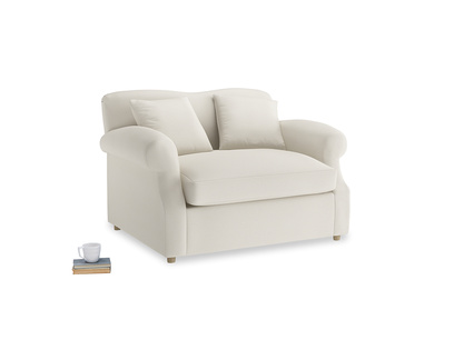 Crumpet Love Seat Sofa Bed in Chalky White Clever Softie