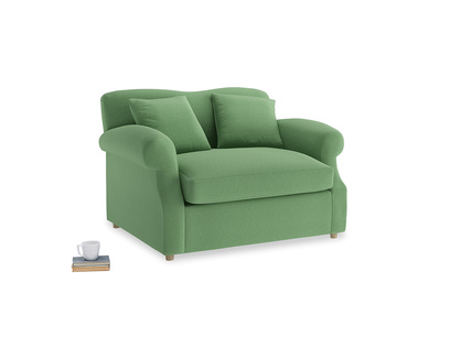 Crumpet Love Seat Sofa Bed in Clean green Brushed Cotton