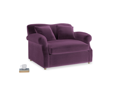 Crumpet Love Seat Sofa Bed in Grape clever velvet