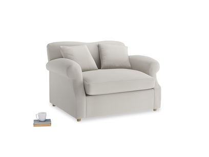 Crumpet Love Seat Sofa Bed in Moondust grey clever cotton