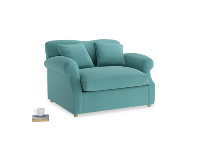Crumpet Love Seat Sofa Bed in Peacock brushed cotton