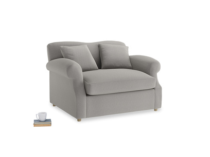 Crumpet Love Seat Sofa Bed in Wolf brushed cotton