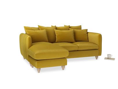 Large left hand Podge Chaise Sofa in Burnt yellow vintage velvet
