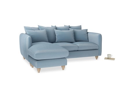 Large left hand Podge Chaise Sofa in Chalky blue vintage velvet
