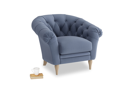 Tubbie Occasional Chair in Breton blue clever cotton