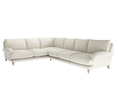 Oat Brushed Cotton Slowcoach corner sofa XL LH