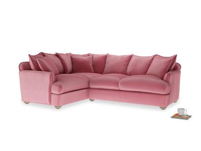 Large left hand Smooch Corner Sofa Bed in Blushed pink vintage velvet