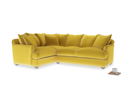 Large left hand Smooch Corner Sofa Bed in Bumblebee clever velvet