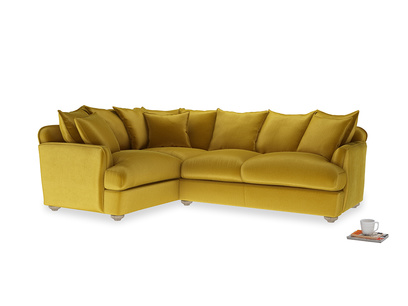 Large left hand Smooch Corner Sofa Bed in Burnt yellow vintage velvet
