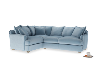 Large left hand Smooch Corner Sofa Bed in Chalky blue vintage velvet