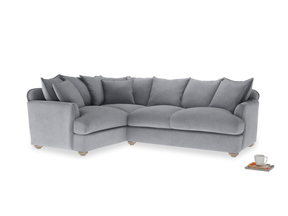 Large left hand Smooch Corner Sofa Bed in Dove grey wool