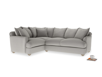 Large left hand Smooch Corner Sofa Bed in Wolf brushed cotton