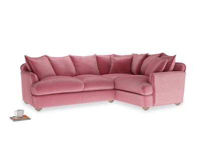 Large right hand Smooch Corner Sofa Bed in Blushed pink vintage velvet
