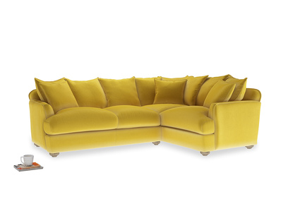 Large right hand Smooch Corner Sofa Bed in Bumblebee clever velvet