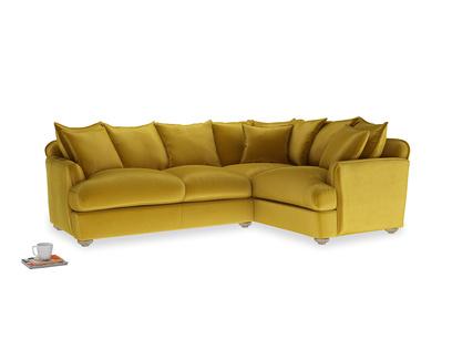 Large right hand Smooch Corner Sofa Bed in Burnt yellow vintage velvet