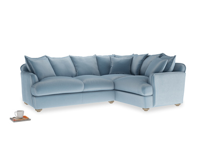 Large right hand Smooch Corner Sofa Bed in Chalky blue vintage velvet