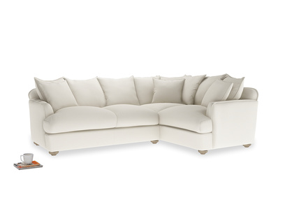 Large right hand Smooch Corner Sofa Bed in Chalky White Clever Softie
