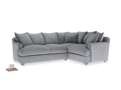 Large right hand Smooch Corner Sofa Bed in Dove grey wool