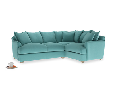 Large right hand Smooch Corner Sofa Bed in Peacock brushed cotton