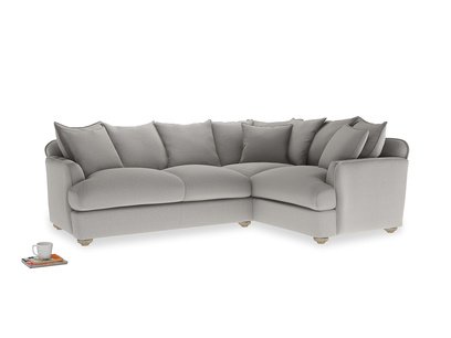 Large right hand Smooch Corner Sofa Bed in Wolf brushed cotton