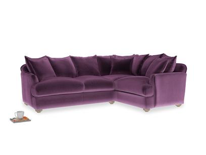 Large Right Hand Smooch Corner Sofa in Grape clever velvet