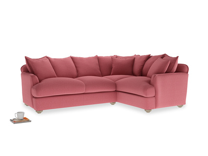 Large Right Hand Smooch Corner Sofa in Raspberry brushed cotton