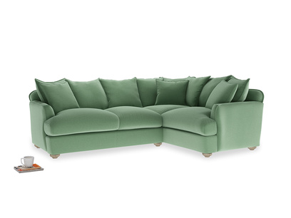 Large Right Hand Smooch Corner Sofa in Thyme Green Vintage Linen