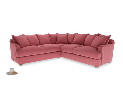 Even Sided Smooch Corner Sofa in Raspberry brushed cotton
