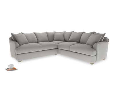 Even Sided Smooch Corner Sofa in Wolf brushed cotton