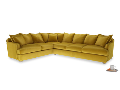 Xl Left Hand Smooch Corner Sofa in Burnt yellow vintage velvet