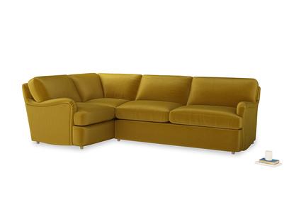 Large left hand Jonesy Corner Sofa Bed in Burnt yellow vintage velvet