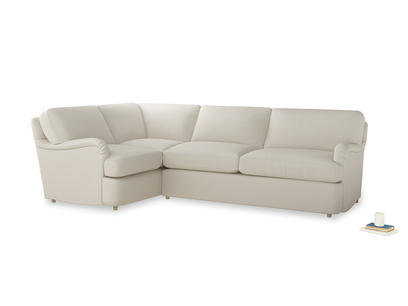 Large left hand Jonesy Corner Sofa Bed in Chalky White Clever Softie