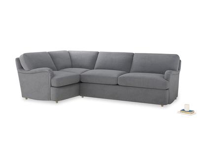Large left hand Jonesy Corner Sofa Bed in Dove grey wool