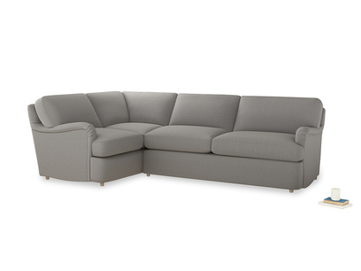 Large left hand Jonesy Corner Sofa Bed in Wolf brushed cotton