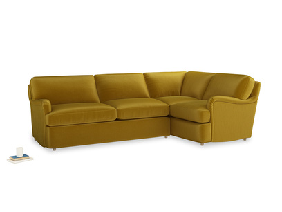 Large right hand Jonesy Corner Sofa Bed in Burnt yellow vintage velvet