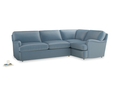 Large right hand Jonesy Corner Sofa Bed in Chalky blue vintage velvet