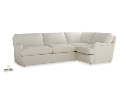 Large right hand Jonesy Corner Sofa Bed in Chalky White Clever Softie