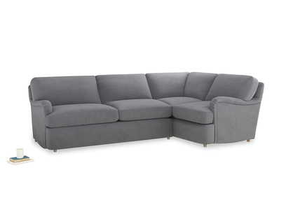 Large right hand Jonesy Corner Sofa Bed in Dove grey wool