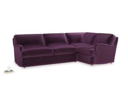 Large right hand Jonesy Corner Sofa Bed in Grape clever velvet