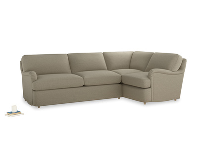 Large right hand Jonesy Corner Sofa Bed in Jute vintage linen