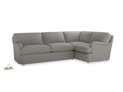 Large right hand Jonesy Corner Sofa Bed in Wolf brushed cotton